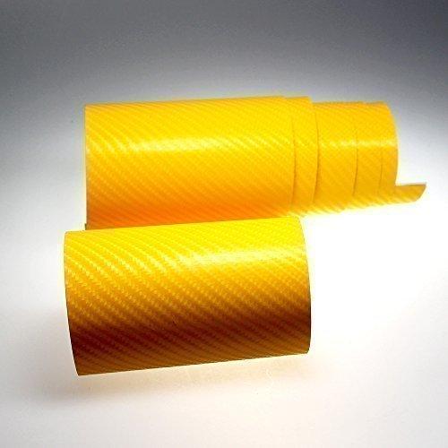 TipTopCarbon 6,58€/m² 4D Carbon Folie gelb BLASENFREI 0,3m x 1,52m mit Luftkanäle Autofolie selbstklebend