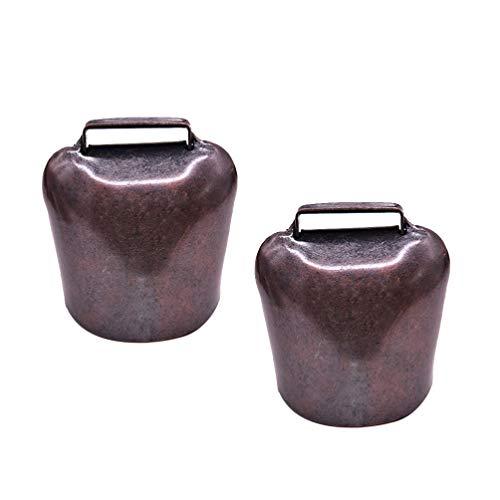 Exceart 2 Stück Kuh Pferd Schafe Läuft Glocken Bronzefarben Kupfer Glocke Bauernhoftier Glocke für Diebstahlsicherung Zubehör 62 g Größe L