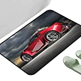 Multi Size Floor Rugs Cars Modern Red Sports Car on Dramatic Sky Backdrop with Dark Cloudscape Strong Engine Red Grey Black 47' x 35' Rectangle Cheap Area Rugs