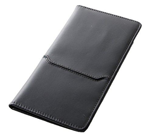 [Boosters] ブースターズ ロングパスポートケース 革 本革 航空チケット入れ パスポートカバー 財布 ブラック