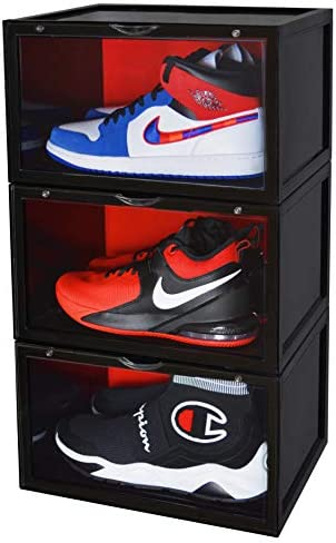 ShoeBaks 3 Pack Shoe Display Case Stackable Shoe Box and Storage Container Organizer for Shoes product image