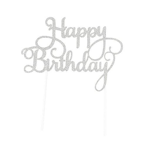 SUNBEAUTY Happy Birthday Gold Silber Glitter Kuchendekoration Cake Topper für Geburtstag (Silber)