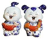 LIUBINGER Escultura 2 Piezas/Set Chino cerámica Mascota Personaje Arte Escultura Chico y niña artesanía Estatua casero Accesorios Ornamentos Regalos coleccionables estatuillas Manualidades