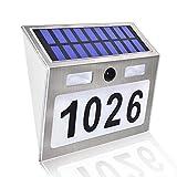 Solar Door Plaque Light Address Plaque Personalized LED Address Sign Motion Sensor Solar Wall Lights for Home Yard Street