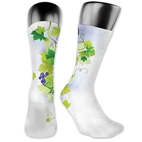 Ingpopol Medium long Crew Socks,Vineyard,Twig Floral Harvest Stems Scenery Vines Viticulture Ripe...