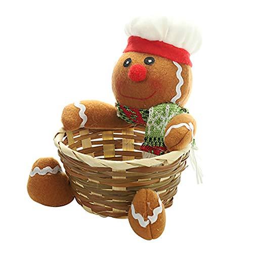 Weihnachtsfruchtkorb Bambus Süßigkeiten Süße Lagerkorb Anwenden für Home Decoration Kinder Weihnachtstag Geschenk,Gingerbread man,S
