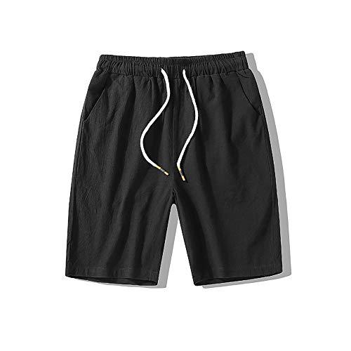 Lannister Fashion Herren Kurz Hosen Sommer Fit Pocket Nner Bequme Casual Männer Festlich Bekleidung Jungen Strand Arbeit Baumwolle Regular (Color : Schwarz, Size : 4XL)