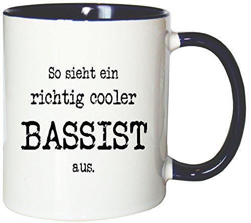 Mister Merchandise Kaffeetasse So Sieht EIN richtig Cooler Bassist aus. Teetasse Becher, Farbe: Weiß-Blau