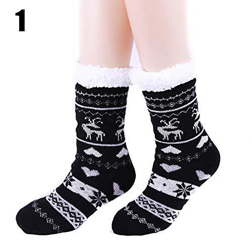 MAyouth 1 Paar Damen Sherpa Gezeichneter Knit Festive Winter-Vlies-Fuzzy Cozy Anti-Rutsch-Slipper Socken Für Innen Zuhause Verdicken Warm