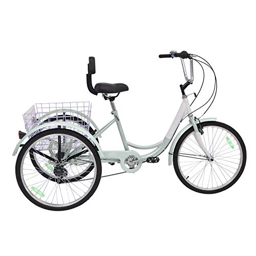 Slsy Adult Tricycles 7 Speed, Adult Trikes 20/24 / 26 inch 3 Wheel Bikes, Three-Wheeled Bicycles Cruise Trike with Shopping Basket for Seniors, Women, Men. (Silver, 18' Wheels)