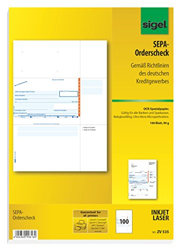 Sigel ZV535 SEPA-Orderscheck, A4, 100 Blatt