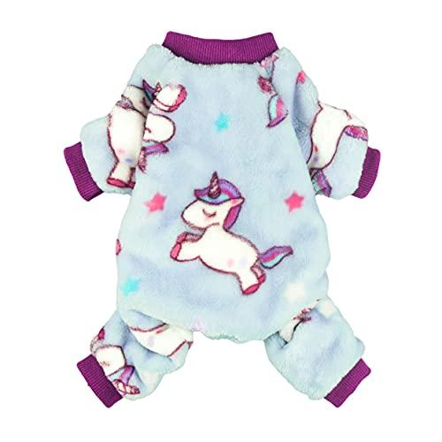 Fitwarm Unicorn Pet Clothes for Dog Pajamas Coat Cat PJS Jumpsuit Soft Velvet Purple XL