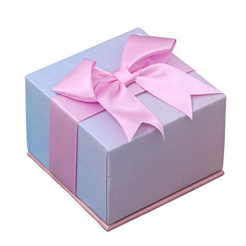 AchidistviQ Caja de regalo de papel con lazo rosa, elegante caja de regalo de lazo para pulsera, collar, anillo, colgante de almacenamiento, gradiente de 7,5 cm