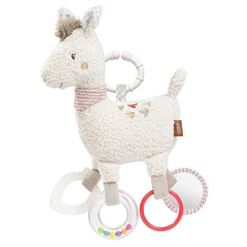 FEHN 058055 Activity-Lama avec anneau/jouet de moto à suspendre avec des breloques tendues pour attraper et faire du bruit – un compagnon parfait pour les bébés et les tout-petits à partir de 0+ mois