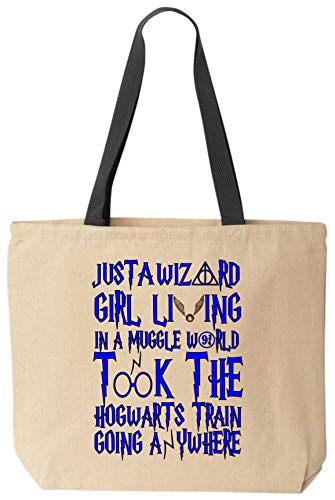 BeeGeeTees Color Just A Wizard Girl in A Funny World Took The Hog Train Tote Magic Canvas Cloth Book Bag (Blue Ink)