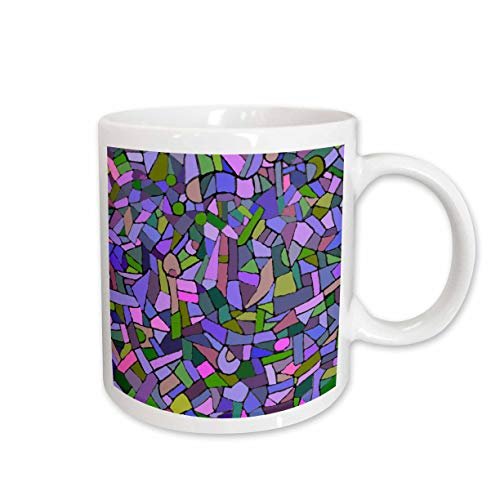 3dRose mug_58377_2 Bright Vibrant and Colorful Purple Gaudi Inspired Mosaic Pattern Stain Glass Like Contemporary Ceramic Mug, 15-Ounce