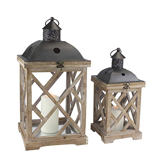 Stonebriar Decorative Wooden Hurricane Candle Lantern Set, Use As Decoration for Birthday Parties, a...