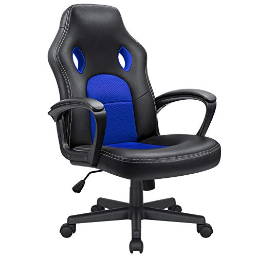 Kaimeng Office Chair Desk Leather Gaming Chair High Back Ergonomic Adjustable Racing Chair Executive Computer Chair (Blue) black chair gaming