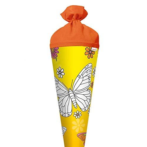 ROTH Scribble-Schultüte zum Ausmalen Schmetterling 70cm rund mit Rot(h)-Spitze und Filzverschluss