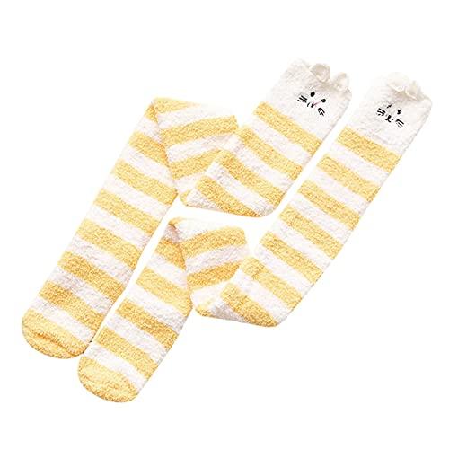 JDGY Calcetines por encima de la rodilla para mujer, con forro polar de coral, calcetines gruesos para mujer, bonitos y pequeños ositos de peluche, amarillo, Talla única
