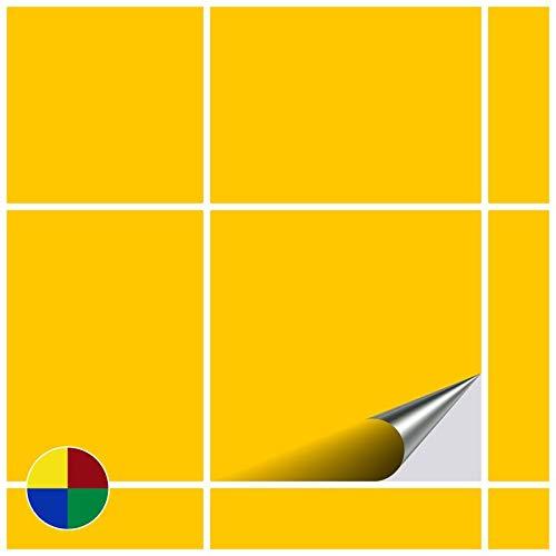 FoLIESEN Fliesenaufkleber 15x15 cm - Fliesen-Folie Bad - Klebefolie Küche - 20 Klebefliesen, Gelb glänzend