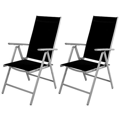 Mojawo 2 Stück Gartenstuhl - Hochlehner 7-Fach verstellbar - zusammenklappbar - Klappstuhl - witterungsbeständiges Aluminium - wetterfeste Gartenmöbel - Silber/Schwarz