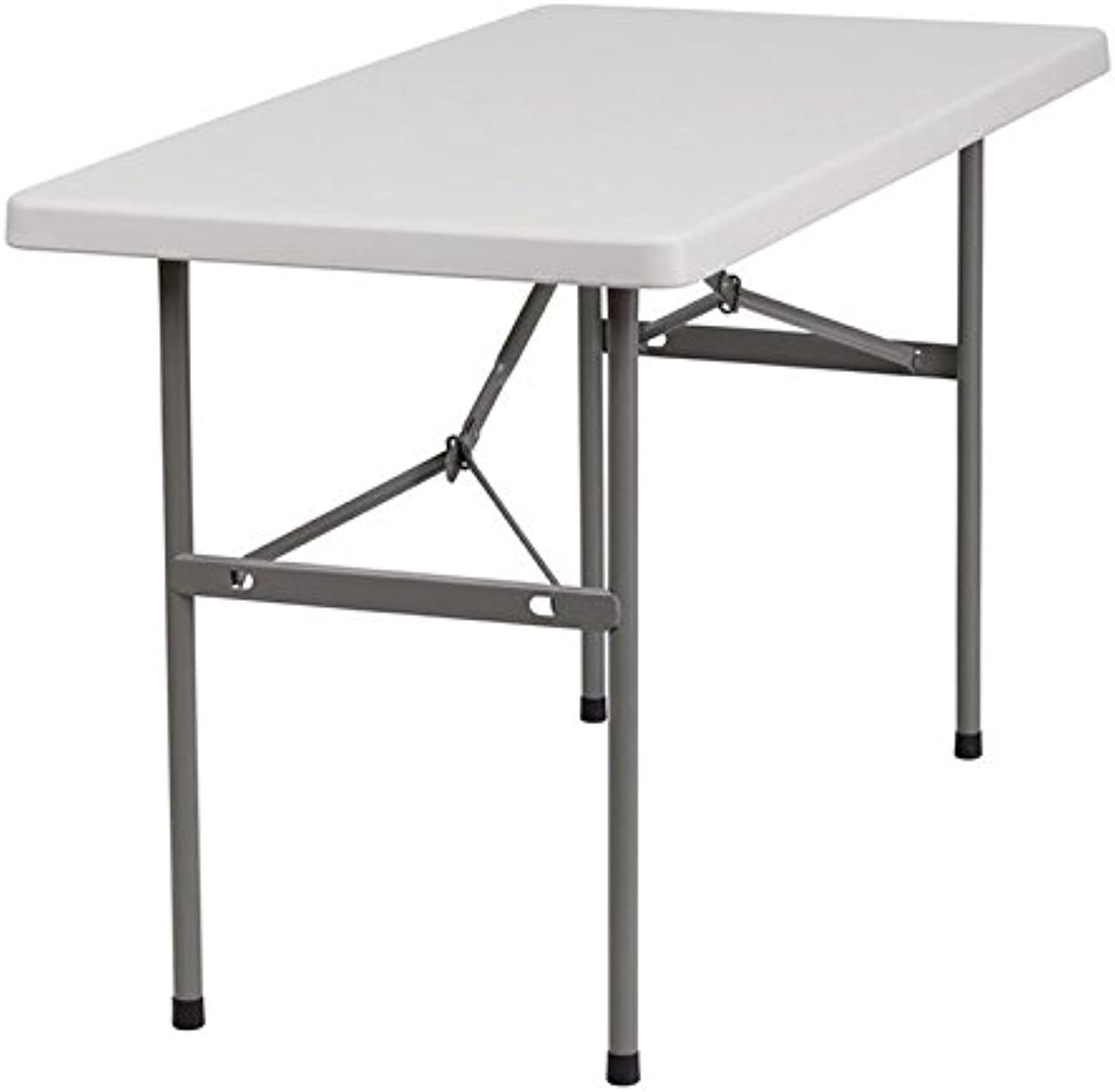 Bowery Hill Granite Plastic Folding Table in White