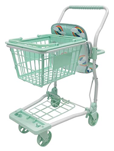 Roma Rupert Toy Shopping Trolley Suitable from 24 months - mint Roma The Rupert shopping trolley measures 62cm from the floor to the handle. Removable Shopping basket Available in primrose or mint - Unique Rainbow Design 8