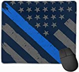 Mauspad Retro Police Officer Flag rutschfeste Gummibasis Verärgert wasserdichte Mausunterlage für Laptop, Computer, PC, Tastatur