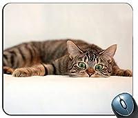 Cat Tabby Eyes Surprise Lie 94958パーソナライズされた長方形のマウスパッド、印刷された滑り止めゴム快適なカスタマイズされたコンピューターマウスパッドマウスマットマウスパッド