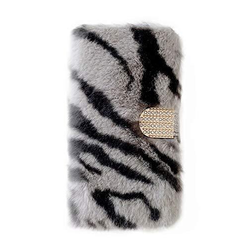 Miagon Plüsch Hülle für Samsung Galaxy S20 Plus,Flip PU Leder Hülle mit Diamant Buckle Kartenfächern Stand Warmer Winter Pelzig Brieftasche Schutzhülle,Zebra Grau