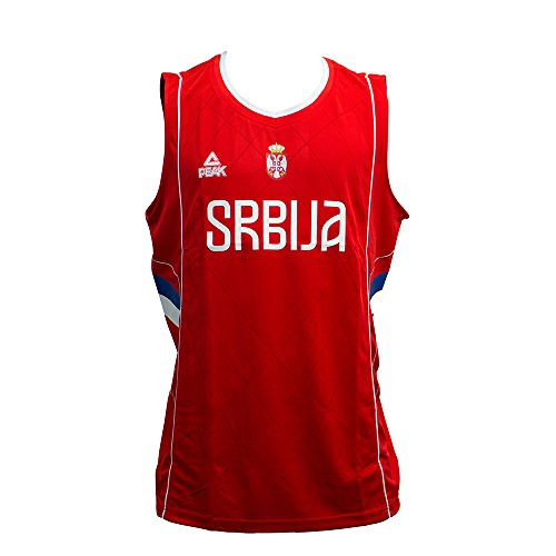 Peak Herren Basketballtrikot Serbien 2016 in sportlichem Design Serbia Red, 2XL