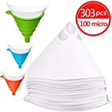 JANYUN 300 Pcs Paint Filter Strainer, Resin Filter (100 meshes), Flow Nylon Mesh, Cone Paint Filter Screen, with 3 Pcs Silicone Funnel Filter