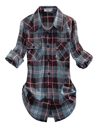Match Women's Long Sleeve Plaid Flannel Shirt #2021(Large, Checks#13)