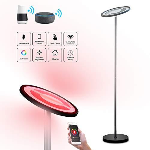 WiFi Lámparas de Pie, BRTLX Regulable RGBW 25W Luz de Pie LED con Controllo Vocale/Control del Teléfono Compatible con Alexa y Google Assistant para Hogar Salón Dormitorio y Oficina