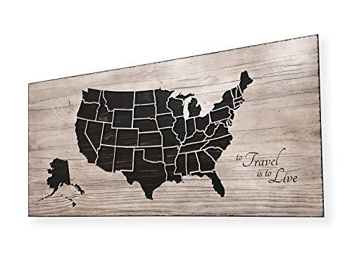 Ced454sy Om te reizen is om te leven Quote Art Push Pin Vriendelijke Houten Map Track Reizen Rustieke Anniversarg Gift Idee Het leven is een reis US Map Decor