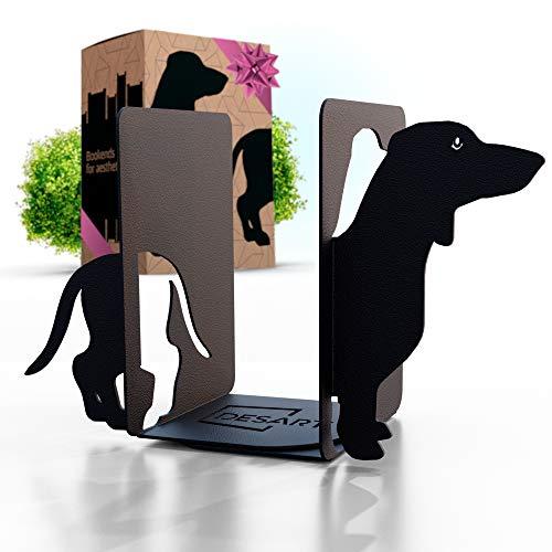 Metal Dog Bookends Decorative for Heavy Books amp Dog Decor  Black Dachshund Book Ends for Kids amp Dog Lovers  Book Holders for Shelves amp Desktop Bookshelf