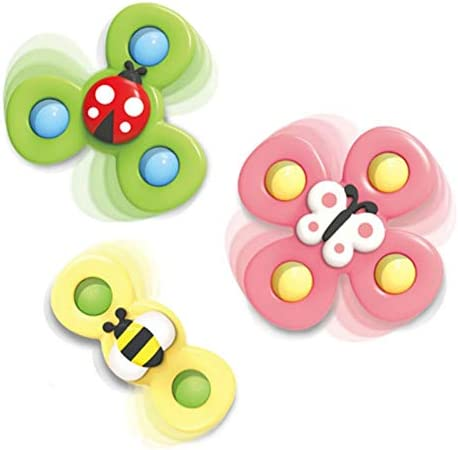 Baby Child Spinning Tops Toy 3Pcs Animal Suction Cup Turntable Spinning Windmill Interesting product image