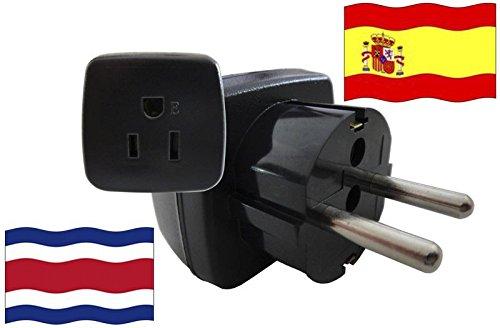 Adaptador de Viaje para España y Costa Rica ES/CR Enchufe de Viaje (Contacto de Protección, 2200 Vatios)