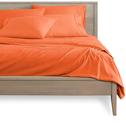 Bare Home 4 Piece 1800 Deep Pocket Bed Sheet Set - Ultra-Soft Hypoallergenic - 2 Pillowcases (Twin XL, Orange)