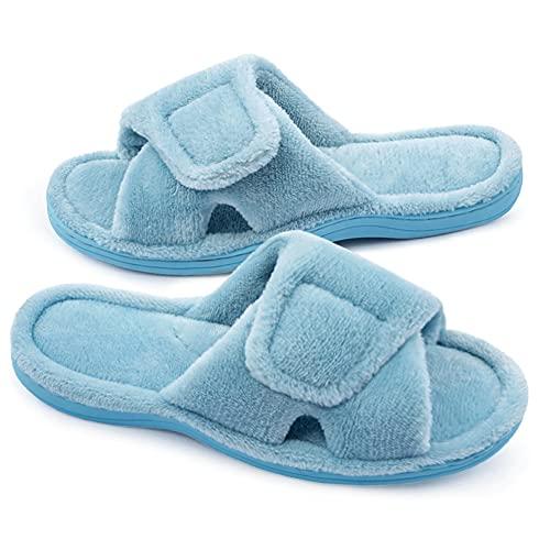 Git-up Zapatillas de Estar por Casa para Mujer Espuma de Memoria con Soporte del Arco Gancho y Bucle Diabético Amplio Punta Abierta Zapatos de Casa Interior Exterior, Azul 9.5/10.5