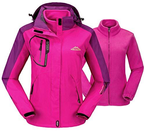 TBMPOY Damen 3 in 1 Winter Skijacke Outdoor Wasserdicht Snowboard Mantel mit Innen Warm Fleece Mantel - Pink - X-Small