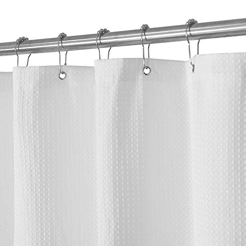 Waffle Weave Fabric Shower Curtain 230 GSM Heavy Duty, Spa, Hotel Luxury, Water Repellent, White Pique Pattern, 71 x 72 Inches Decorative Bathroom...