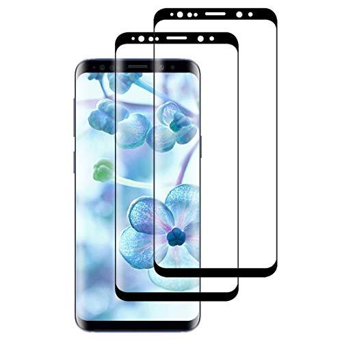XSWO 2 Unidades Cristal Templado para Galaxy S8, Protector de Pantalla para Samsung Galaxy S8, [3D Cobertura Completa] [Alta Sensibilidad] [Anti Arañazos] [Sin Burbujas] Vidrio Templado