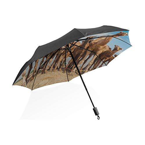 Ombrello grande tote Carino due cammelli in estate Ombrello pieghevole compatto portatile Protezione anti uv Antivento Viaggi allaperto Donne Bambini Ragazzo Ragazzo Ombrello
