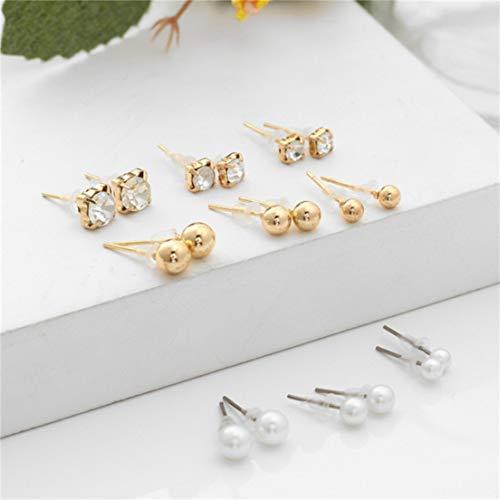 #N/A Juego de 9 pendientes de perlas de imitación de imitación redondas, simples y elegantes, estilo retro, joyería para mujeres y niñas, regalo de cumpleaños, dorado
