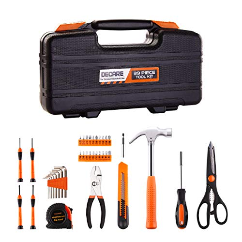 DeCare 39Piece Tool Kit Tool Set  Household Hand Tool Kit Repair Tool Set with Portable Toolbox Storage Case 39 PCS