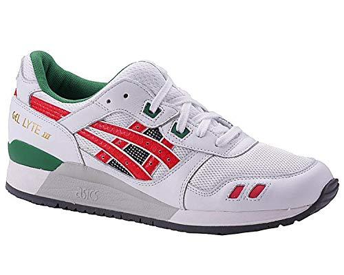 ASICS Gel-Lyte III Unisex Sneaker Farbe: Weiß/Rot/Grün (0123); Größe: EUR 39 | US 7 | UK 6