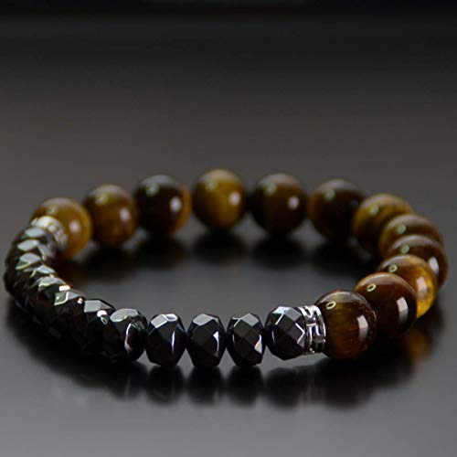Hematite Bead Bracelet Paved Chakra Attraction Protection Healing Balance for Men & Women 10mm 8mm