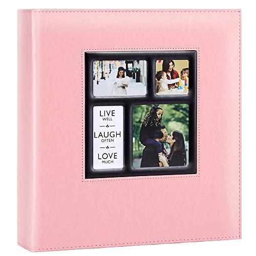 Ywlake Fotoalbum Einsteckalbum 10x15 500 Fotos, Vintage Leder Groß Hochzeit Familie Fotoalbum zum Einstecken Schwarze Seiten für 500 Pocket Bilder Rosa